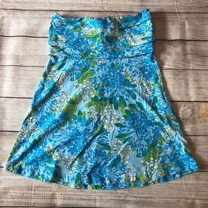 Blue Hydrangea Strapless Dress